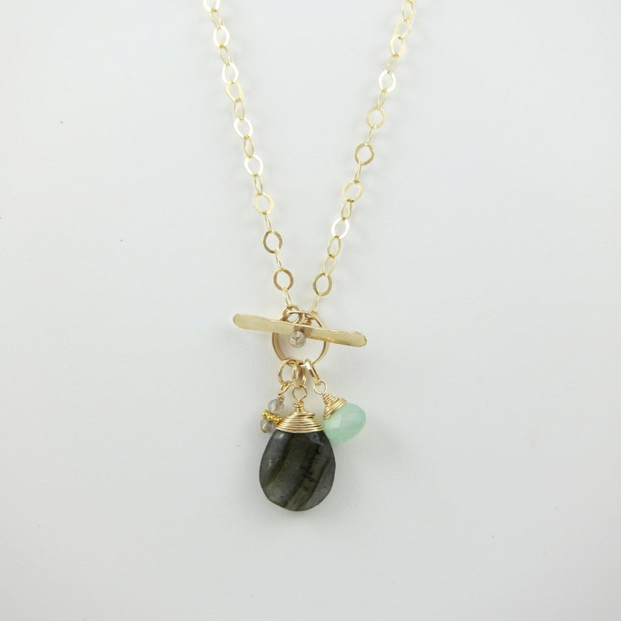 Forged Toggle Necklace with Labradorite Teardrop and Gemstone Accents
