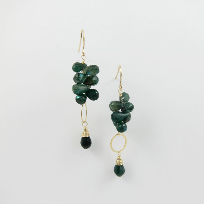 Green Labradorite Gemstone Cluster Earrings