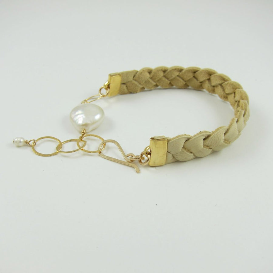 Braided Leather and Coin Pearl Bracelet