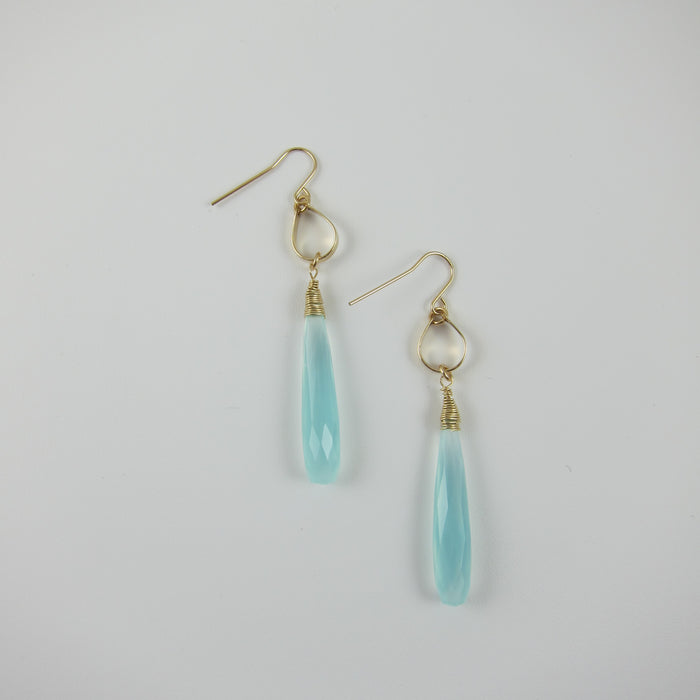 Aqua Chalcedony faceted teardrop earrings