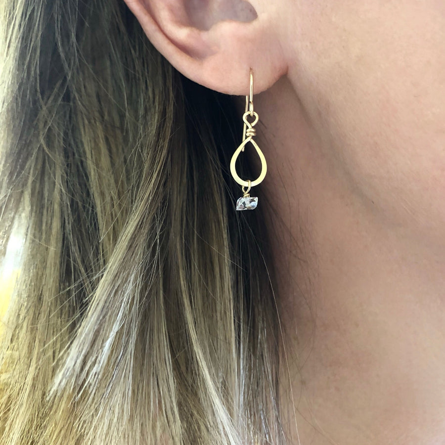 Tiny Forged Teardrop Earring with Herkimer Diamond Drop
