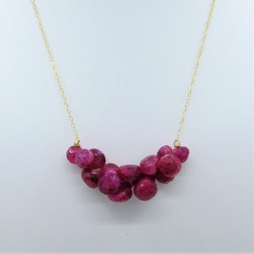 Ruby Moonstone Gemstone Cluster Necklace