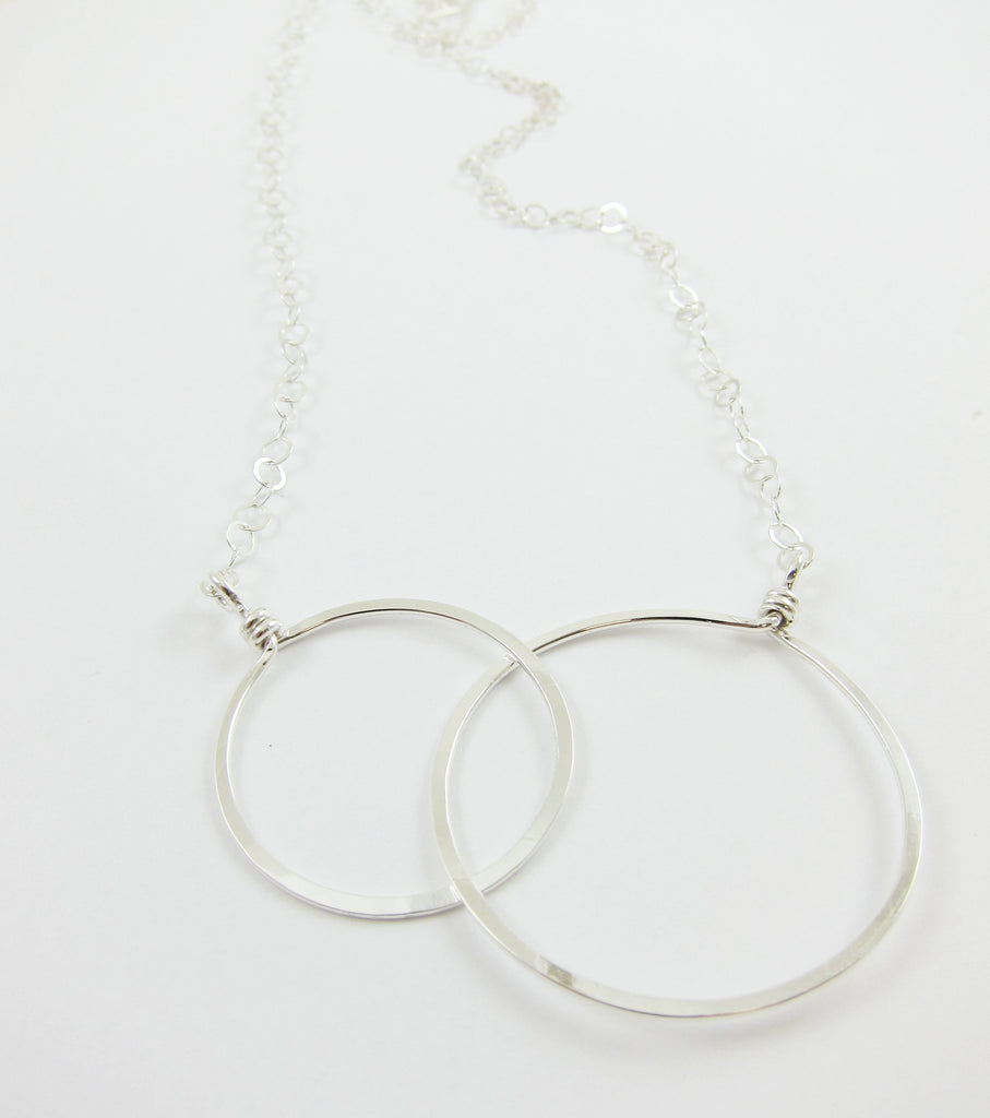Large Forged Double Circle Necklace