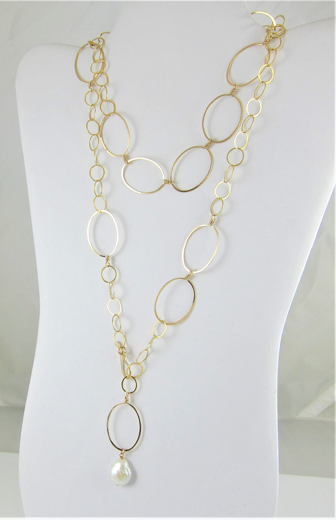 "14k GF forged oval and chain necklace-36"" length"