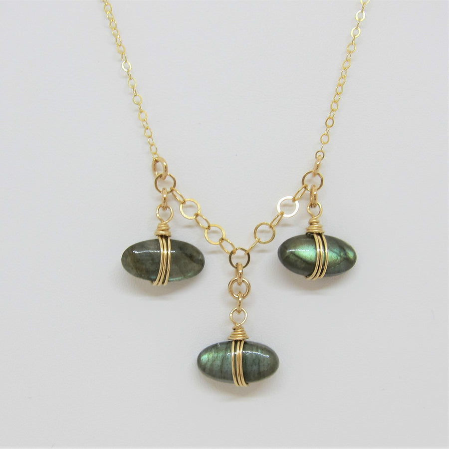 3 Drop Oval Labradorite Necklace