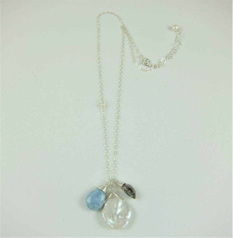 Keishi Pearl and Gemstone Drop Necklace