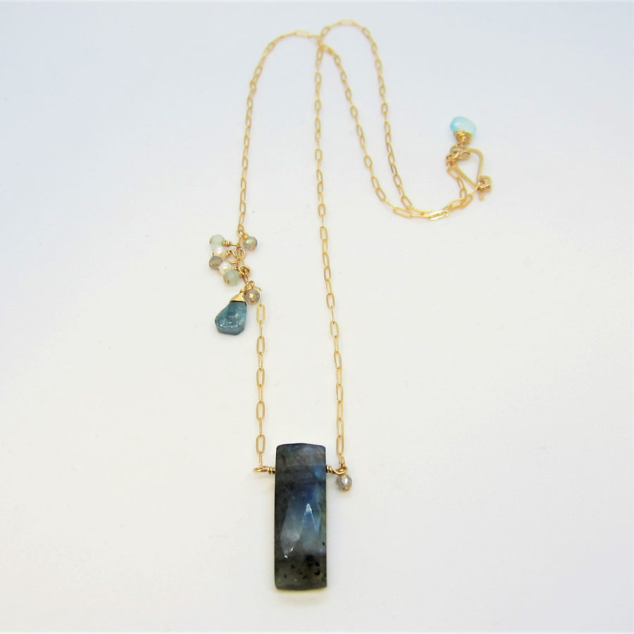 Labradorite and Asymmetrical  Gemstone Cluster Necklace