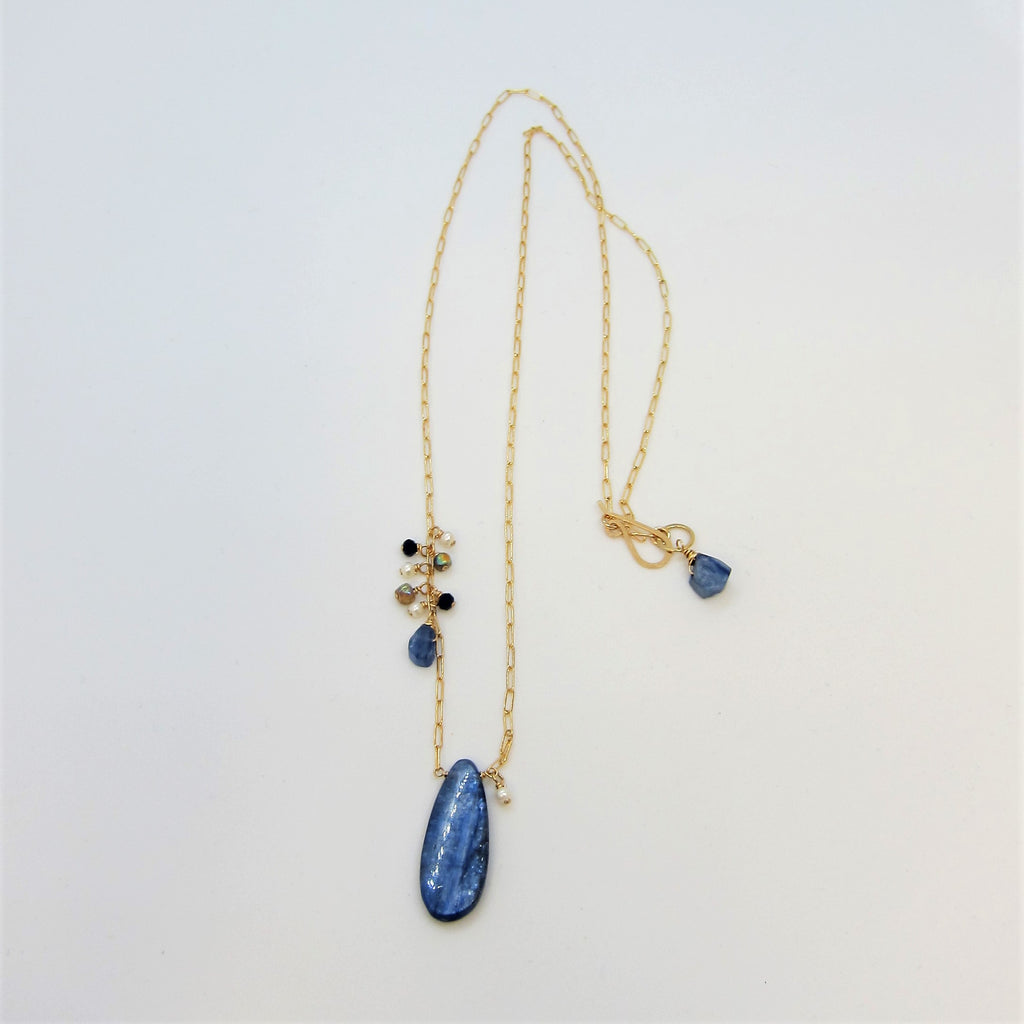 Kyanite Teardrop Necklace with Asymmetrical Gemstone Cluster