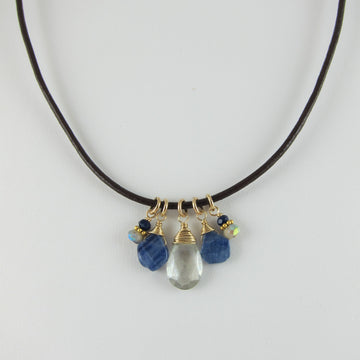 Leather Cord Necklace with Kyanite and Grey Quartz