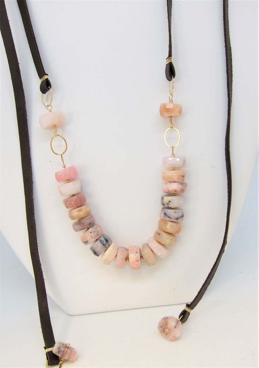 Peruvian Pink Opal and Leather Necklace