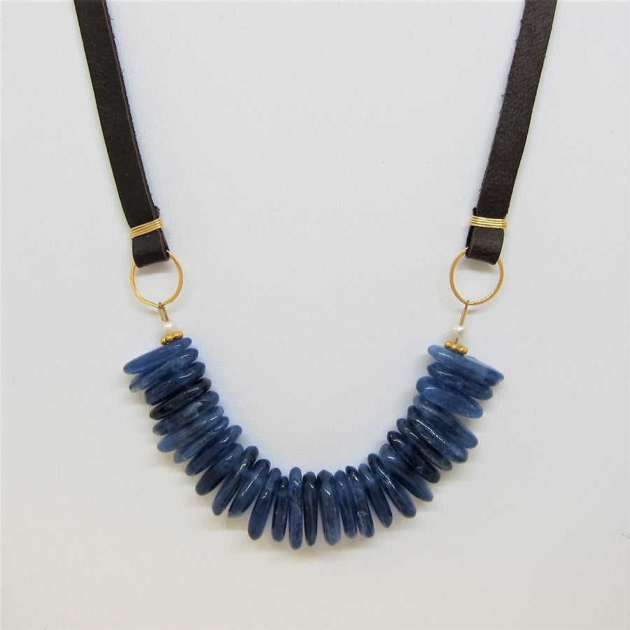 Kyanite Slab and Leather Necklace