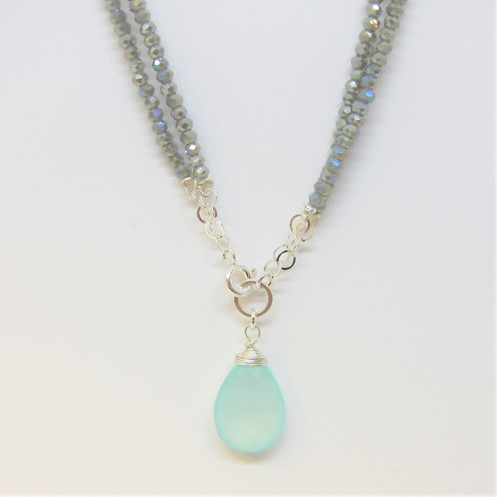 Light Grey, Turquoise or Black Crystal Bead Necklace