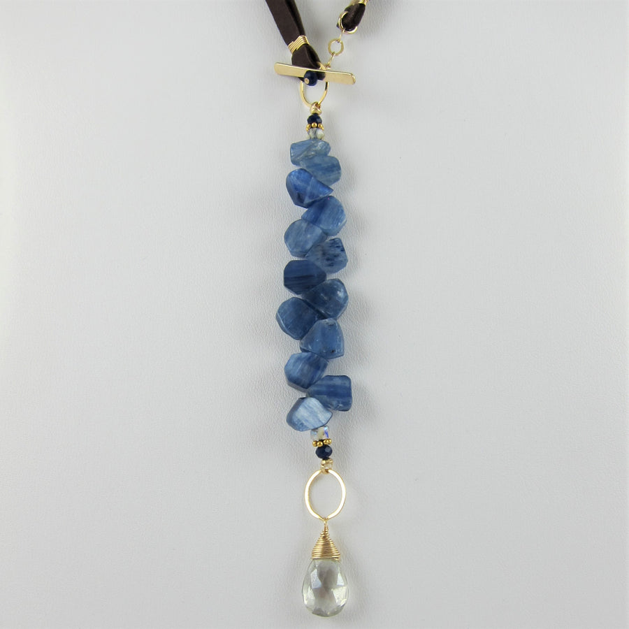 3 in 1 Leather Toggle Necklace with Kyanite Cluster and Grey Quartz