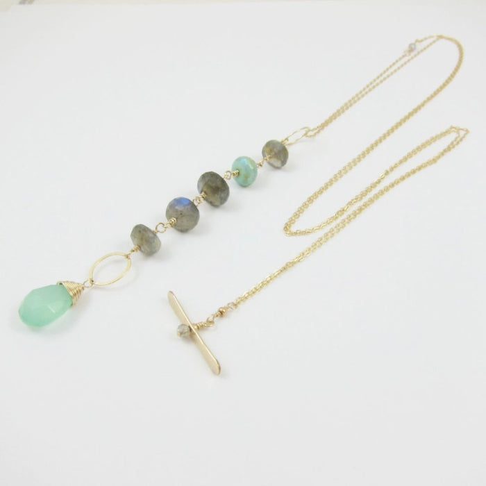 Peruvian Opal and Labradorite Toggle Clasp Necklace