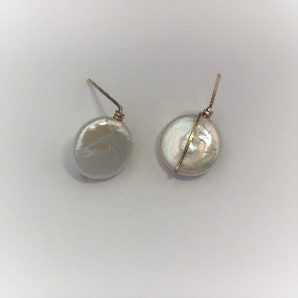 Coin Pearl Stud Earrings