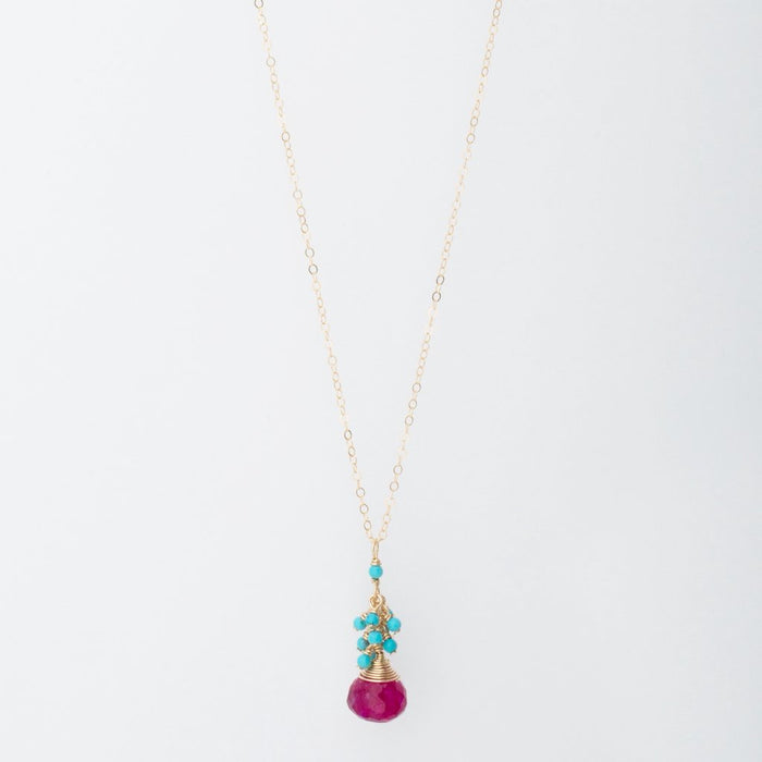 Ruby Moonstone Necklace with Turquoise Cluster
