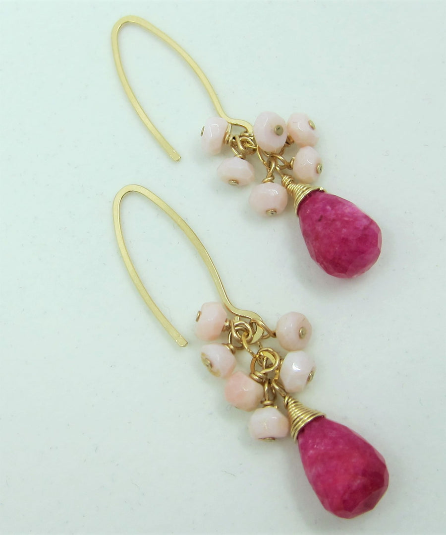 Ruby Moonstone Earrings with Pink Opal Cluster