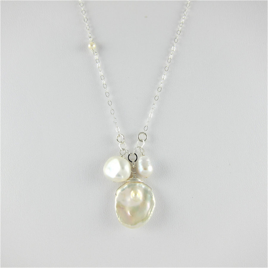 3 pearl necklace on 925 chain