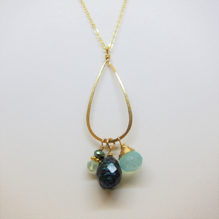 Forged Teardrop Necklace with Pearl and Gemstones