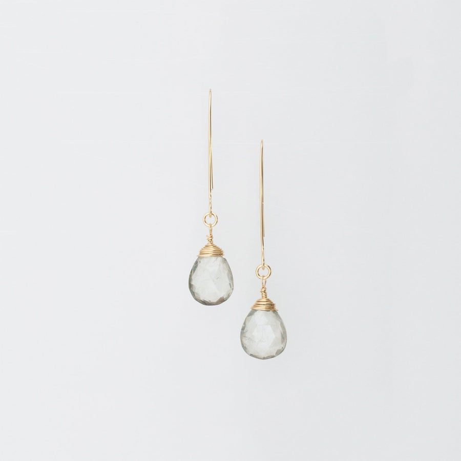 14K Gold Hand-Forged Artisan Grey Quartz Teardrop Earrings