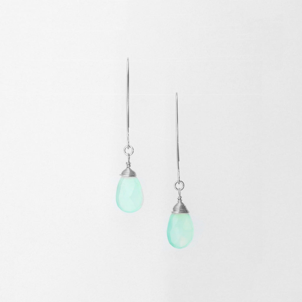 Sterling Silver Hand-Forged Artisan Aqua Chalcedony Teardrop Earrings