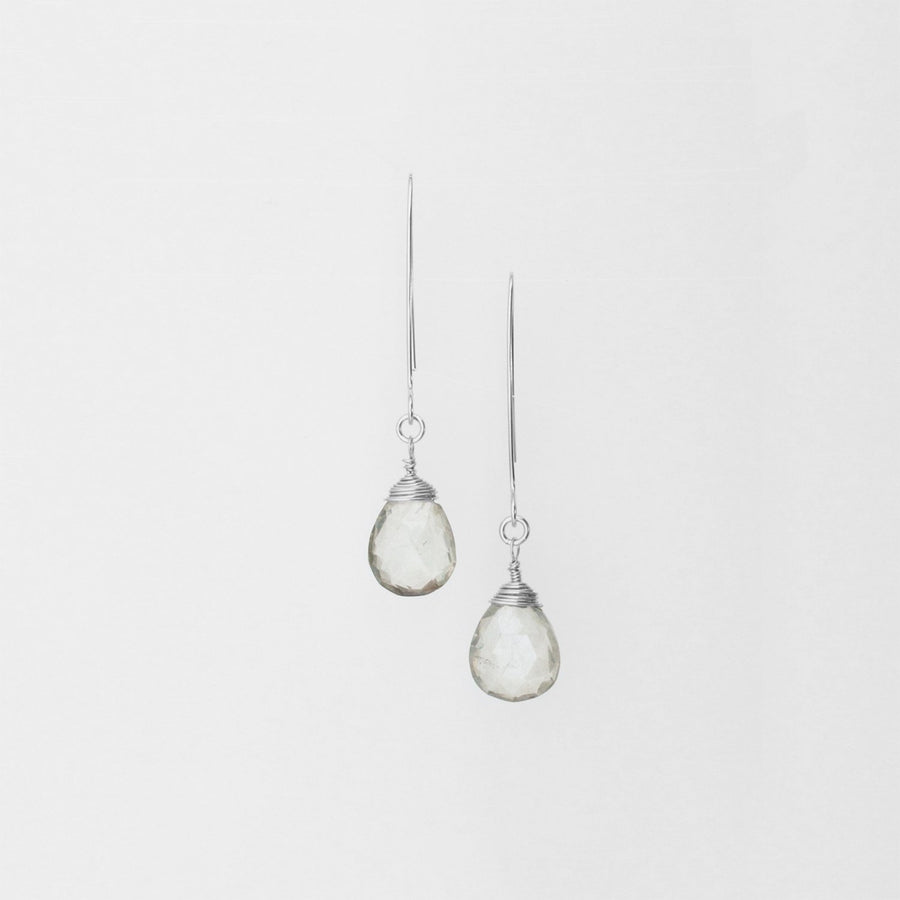 Sterling Silver Hand-Forged Artisan Grey Quartz Teardrop Earrings