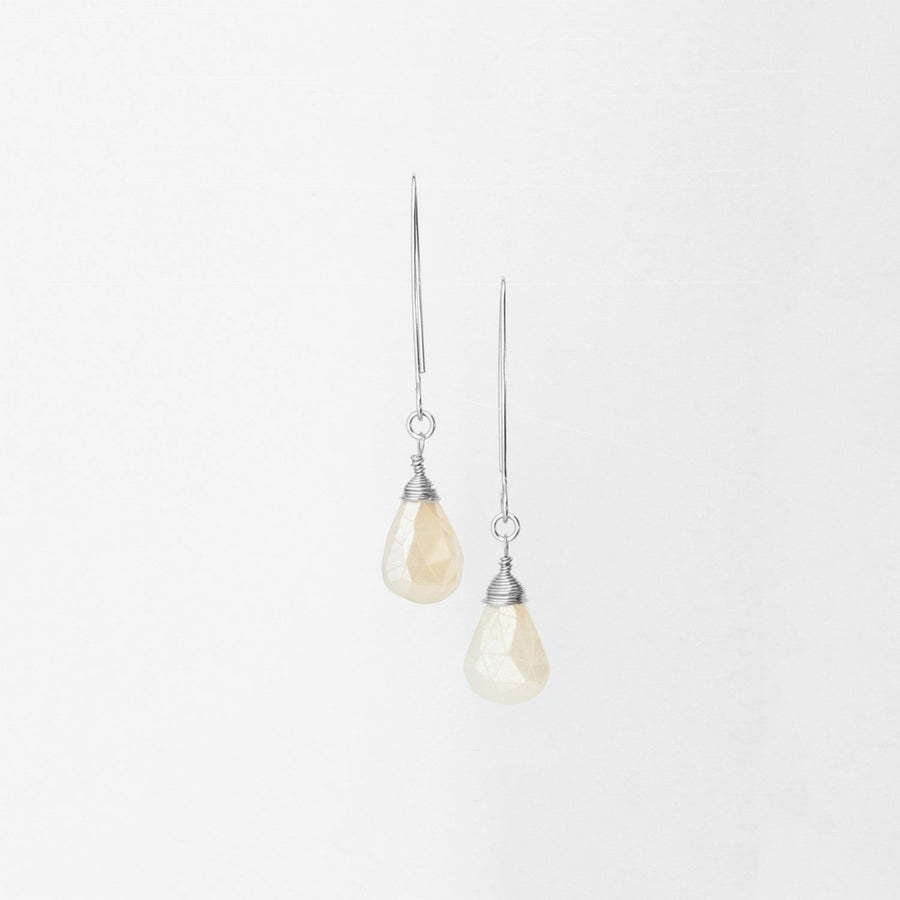 Sterling Silver Hand-Forged Artisan Pearl Chalcedony Teardrop Earrings