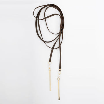 Dark Brown Leather Lariat Necklace