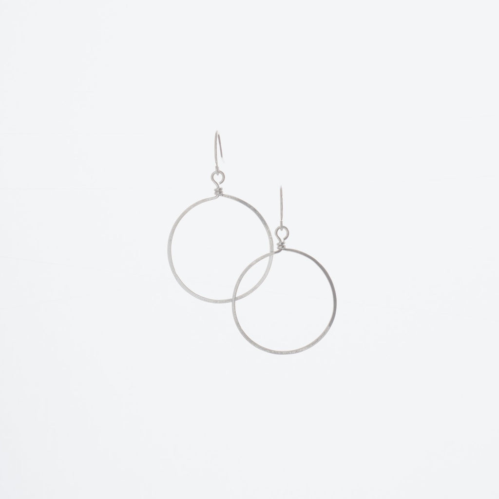 "Forged 1"" Circle Earrings on Sterling Silver Ear Wire"