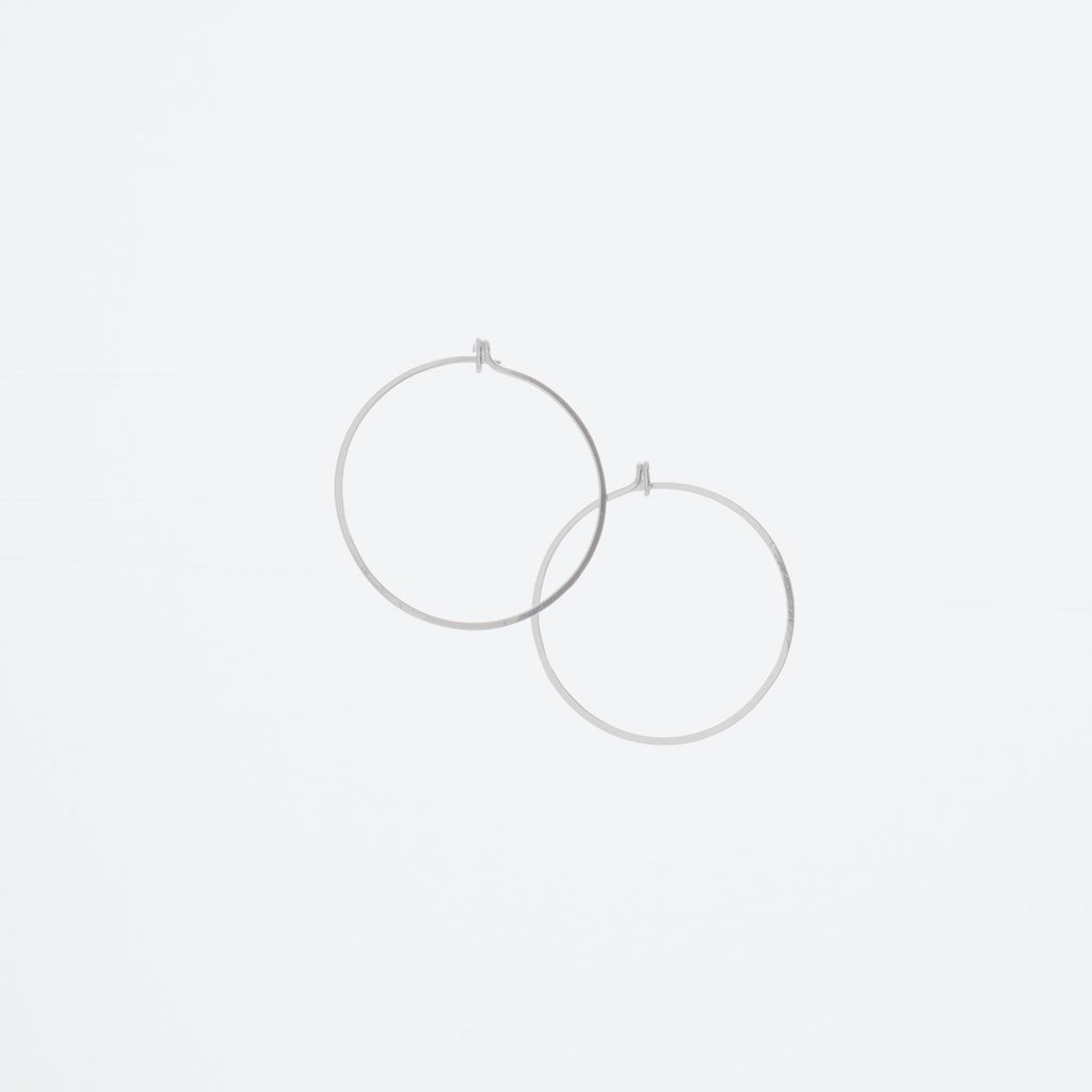 "Forged 1"" Round Hoop Earrings Sterling Silver"