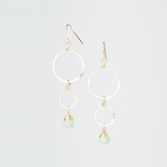Forged Double Circle Earrings Two Interlocking Circles 14K Gold
