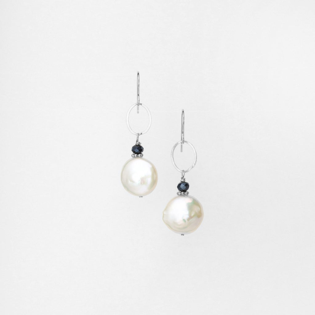 Freshwater Coin Pearl Earrings with Crystal Accent on Sterling Silver Link