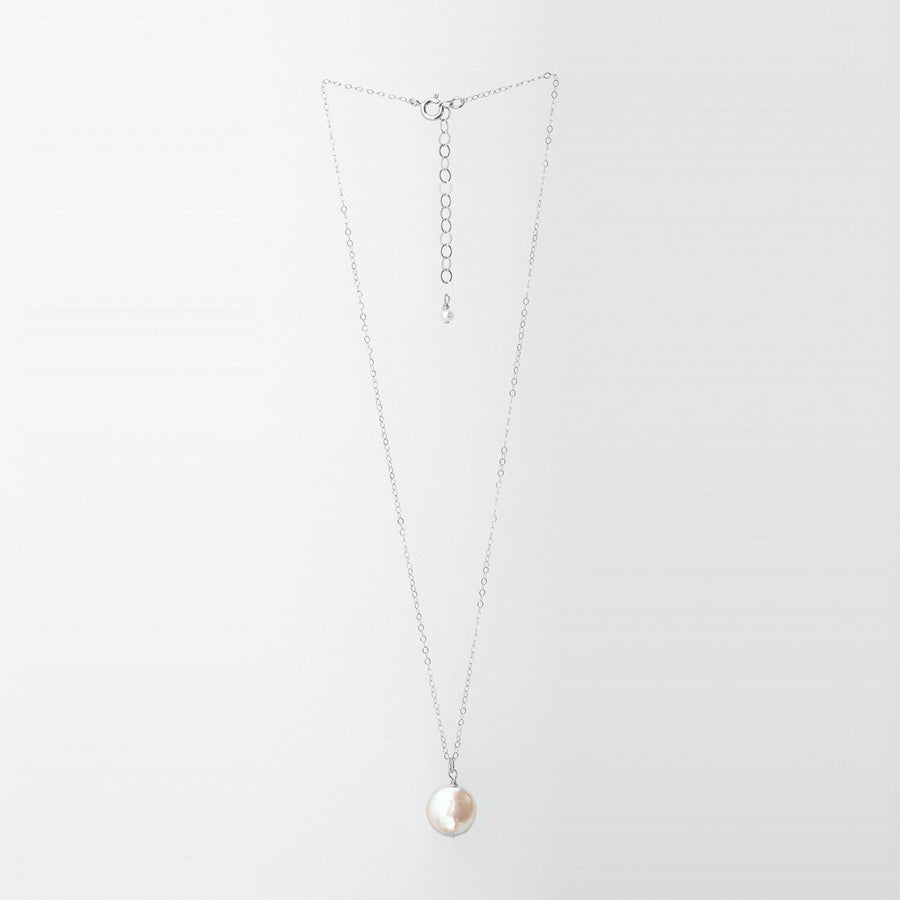 Freshwater Coin Pearl Necklace Sterling Silver Chain