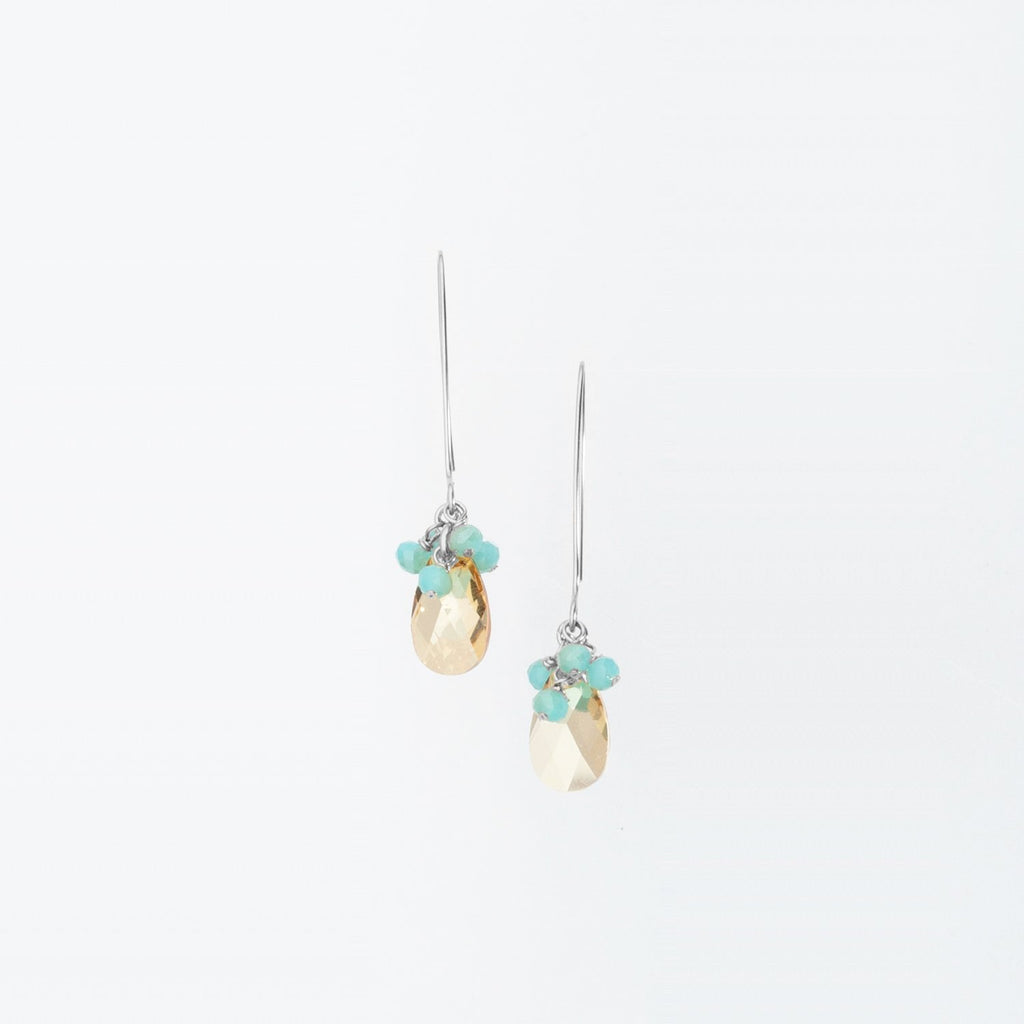 Gold Swarovksi Crystal Teardrop Earrings with Crystal Cluster on Sterling Silver Ear Wire