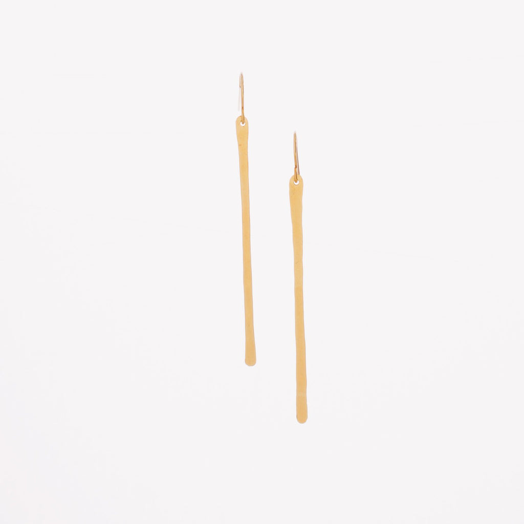 Hand-Forged Bar Earrings 2 Inch 14K Gold Vertical Bar