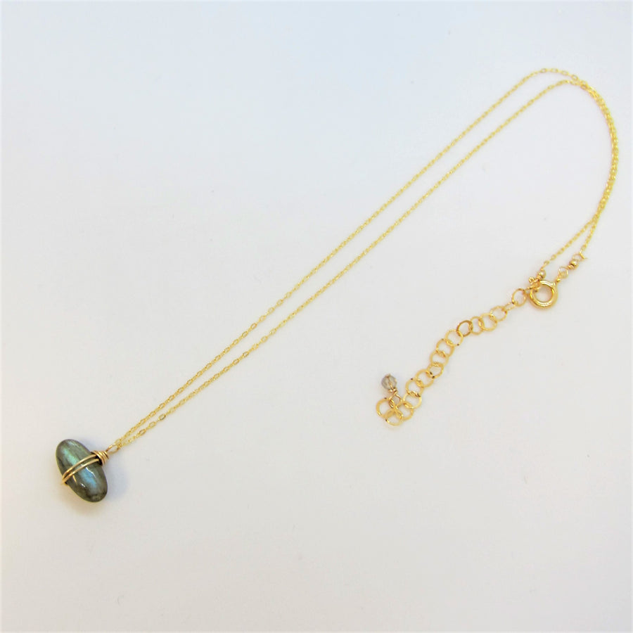 Labradorite Oval Drop Necklace