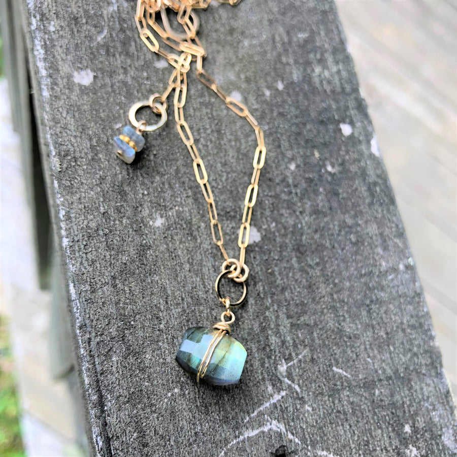 Faceted Cushion Cut Labradorite Necklace