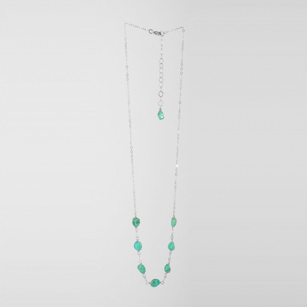 Lucky 7 Kingman Turquoise Drop Necklace Sterling Silver Chain