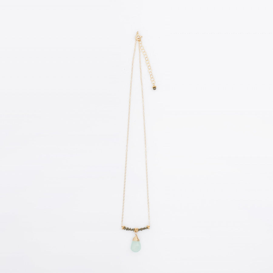 Pyrite and Aqua Chalcedony Necklace 14k Gold Filled Chain