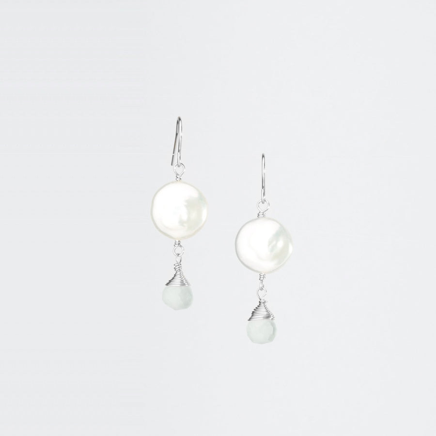 Single Coin Pearl Gemstone Earrings on Sterling Silver Ear Wire