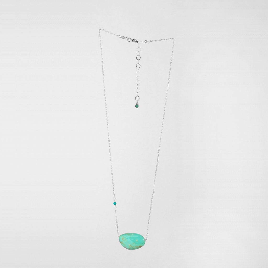 Single Kingman Turquoise Necklace Sterling Silver
