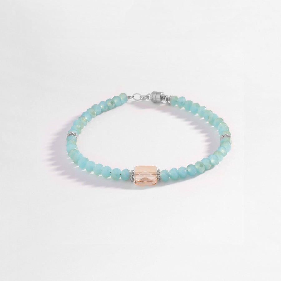Sterling Silver Aqua and Champagne Crystal Handmade Bracelet with Swarovski Crystal Silver Bead