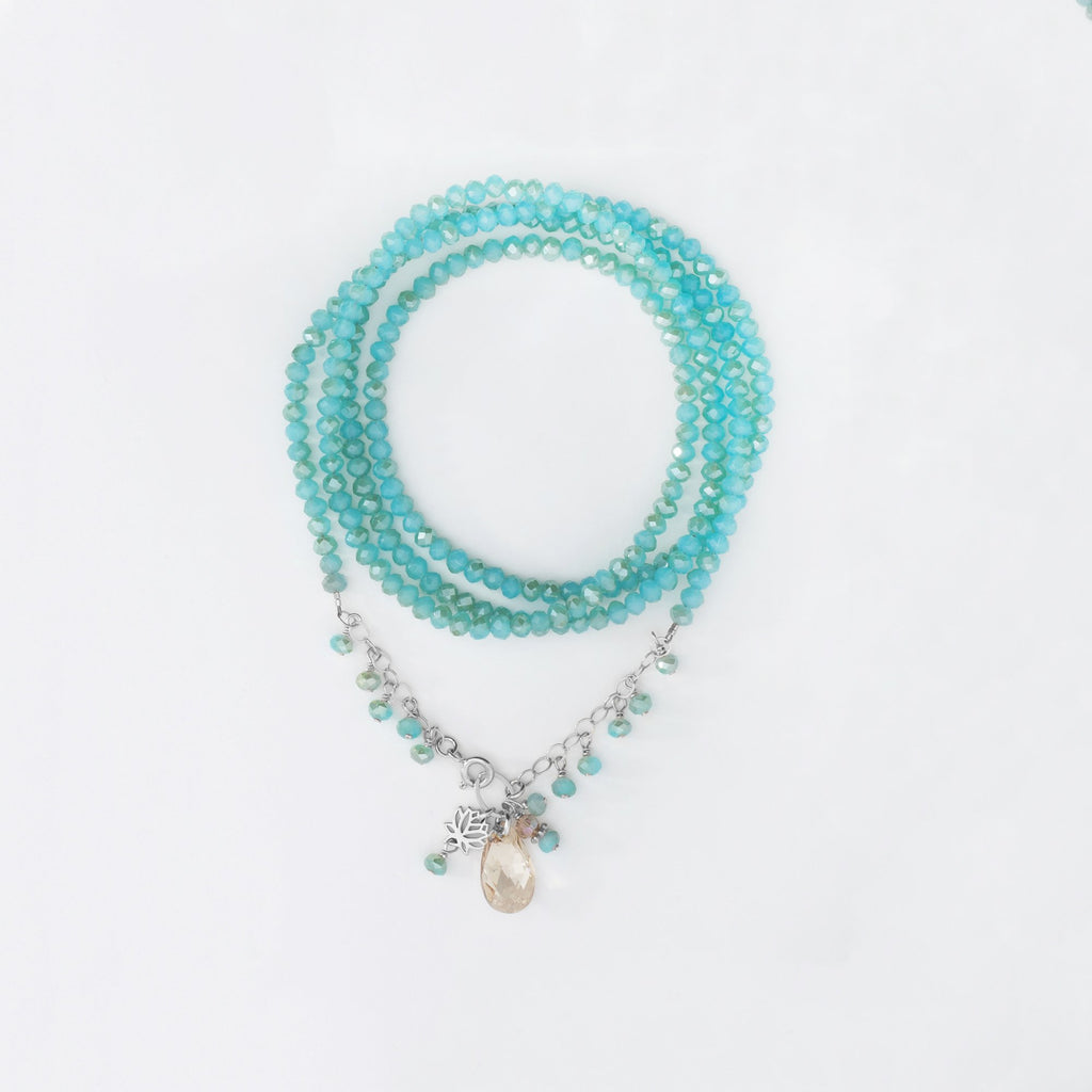 Sterling Silver Crystal Necklace and Wrap Bracelet Aqua Champagne Swarovski Crystal
