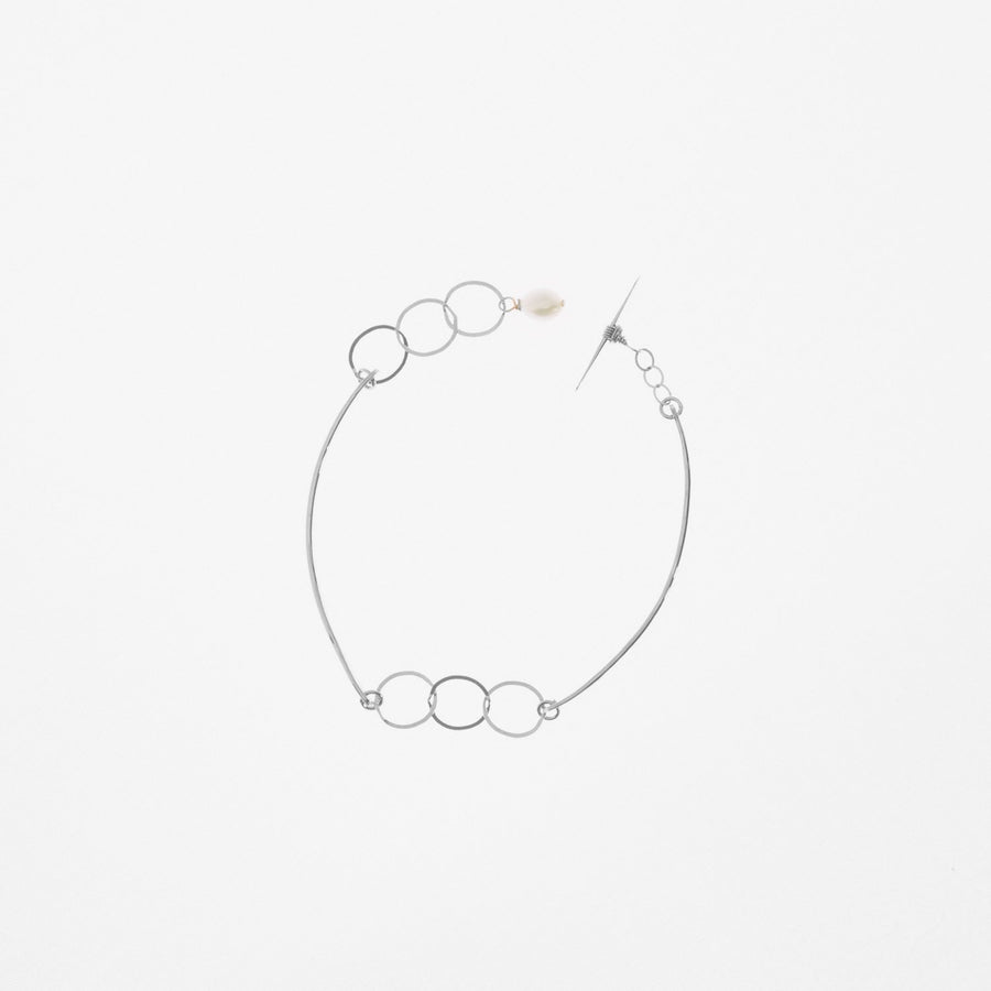 Sterling Silver Forged Curved Bar and Chain Bracelet Toggle Clasp Pearl Accent