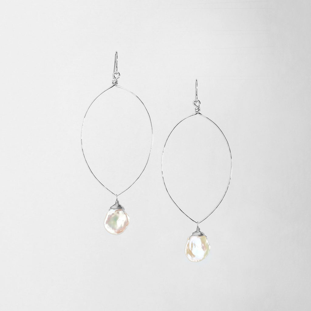 Sterling Silver Forged Marquise Shaped Earrings Keishi Pearl Drop