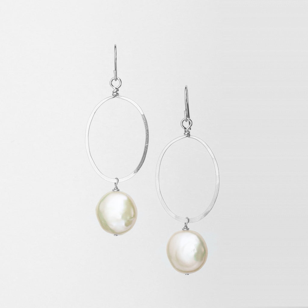 Large Sterling Silver Forged Oval Freshwater Coin Pearl Earrings