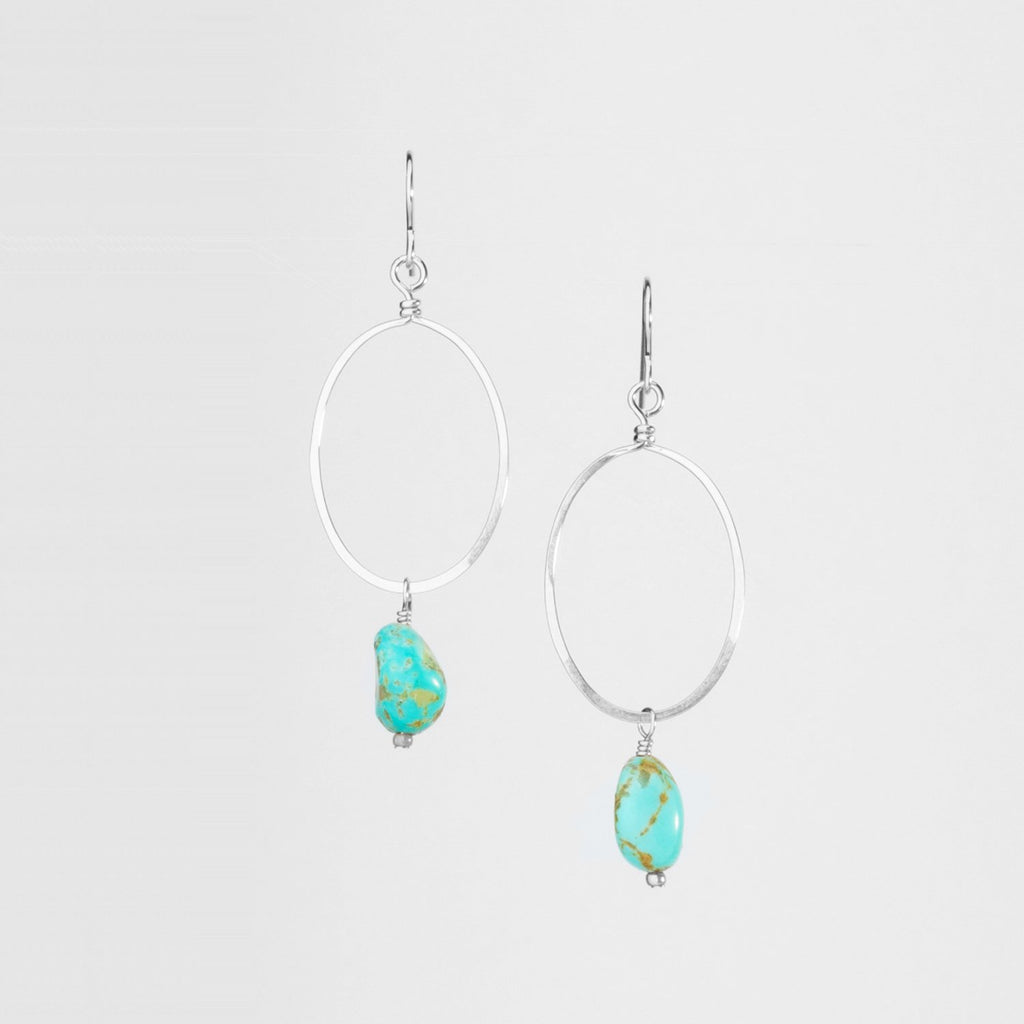Large Sterling Silver Gold Forged Oval & Kingman Turquoise Drop Earrings