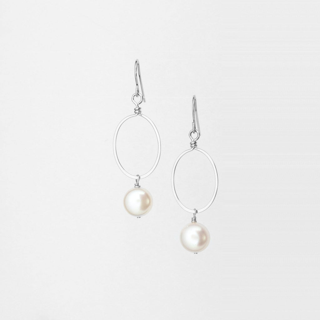 Sterling Silver Forged Small Oval with Button Pearl Earrings