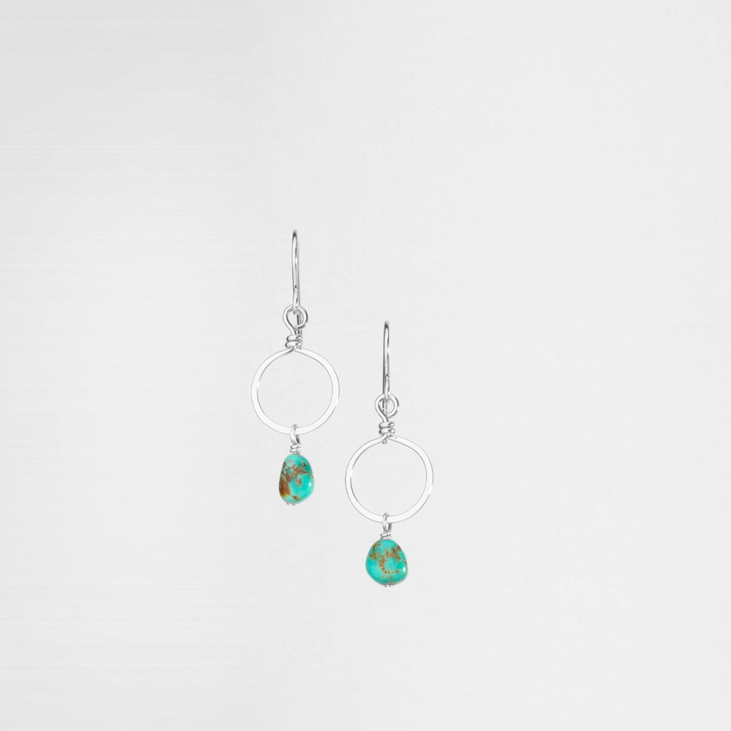 Sterling Silver Forged Tiny Circle Earrings with Kingman Turquoise Drop