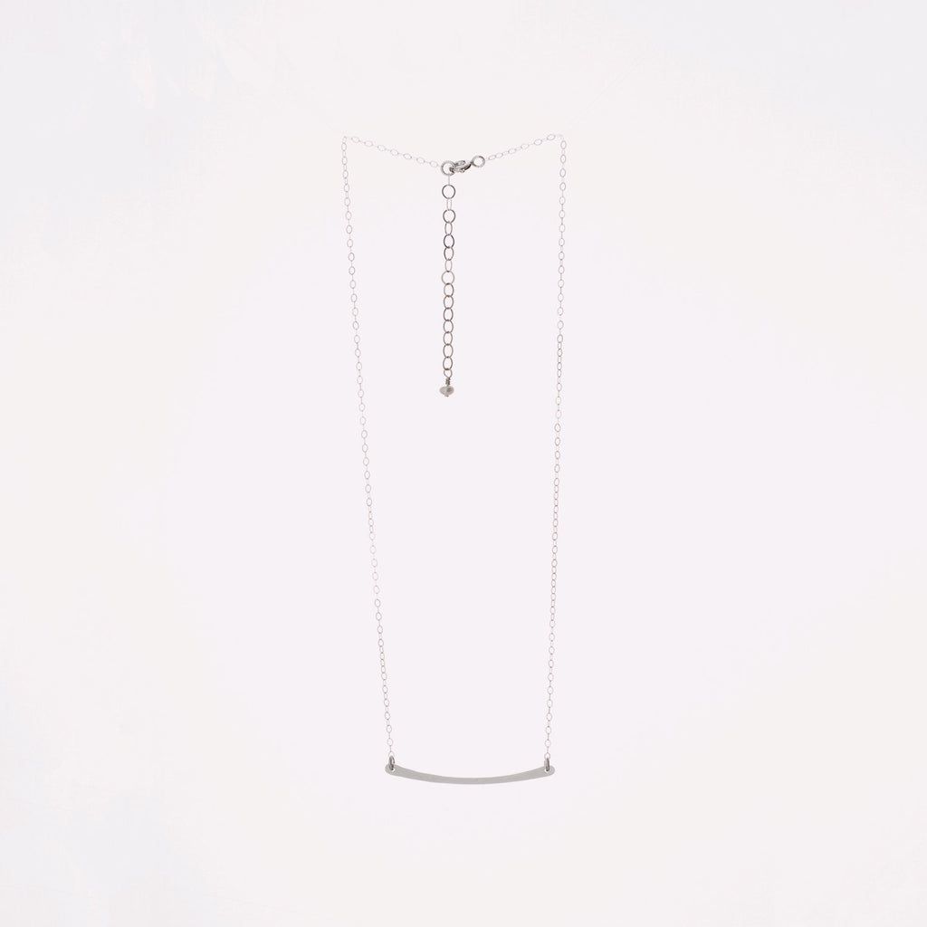 Sterling Silver Hand-Forged Small Curved Bar Necklace